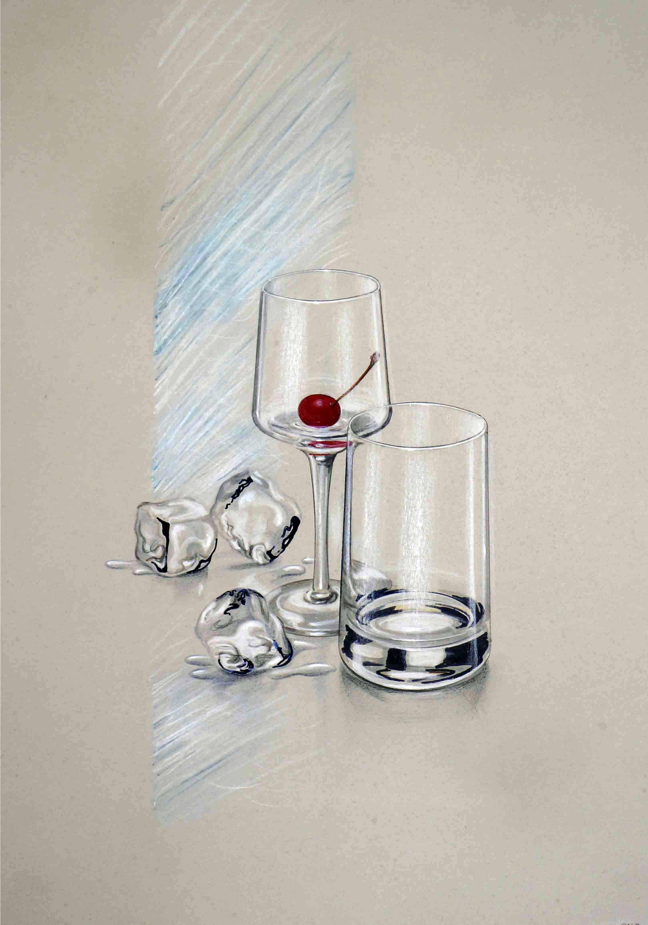 Ilustração de copo e taça de vidro, cereja e gelos
