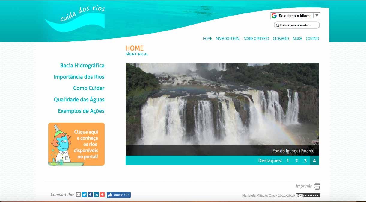 Página do Portal Cuide dos Rios (www.cuidedosrios.eco.br)
