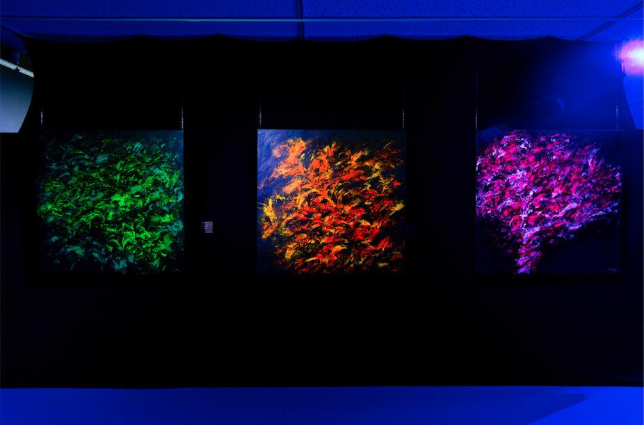 """Vista da exposição """"Luminescências [...]"""", com o tríptico de acrílicas sobre tela (2017)"""