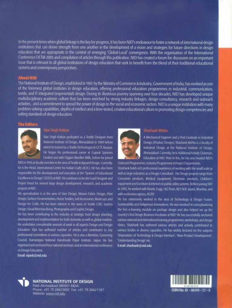 "Contracapa do livro ""Design education: tradition and modernity"" (2007)"