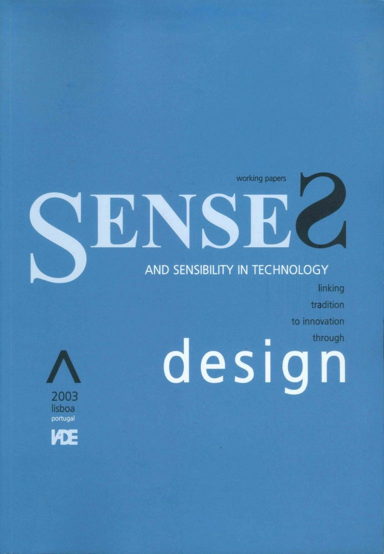 """Capa do """"Proceedings of the First International Meeting of Science and Technology. Senses and Sensibility in Technology. Linking tradition to innovation through design"""" (2003)"""