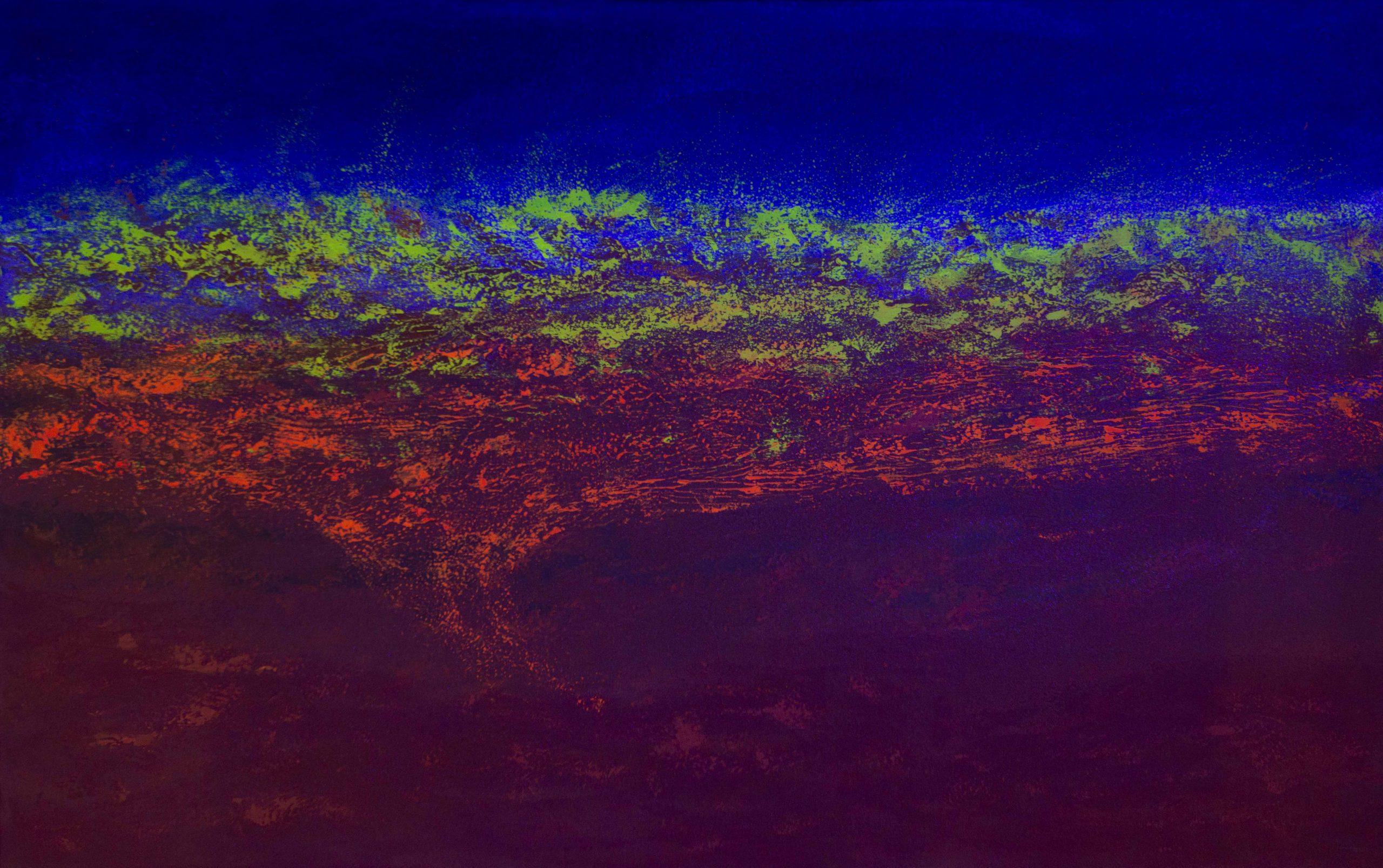 Acrílica sobre tela - 96 x 155 cm - c/ projeção de luz azul (2019)