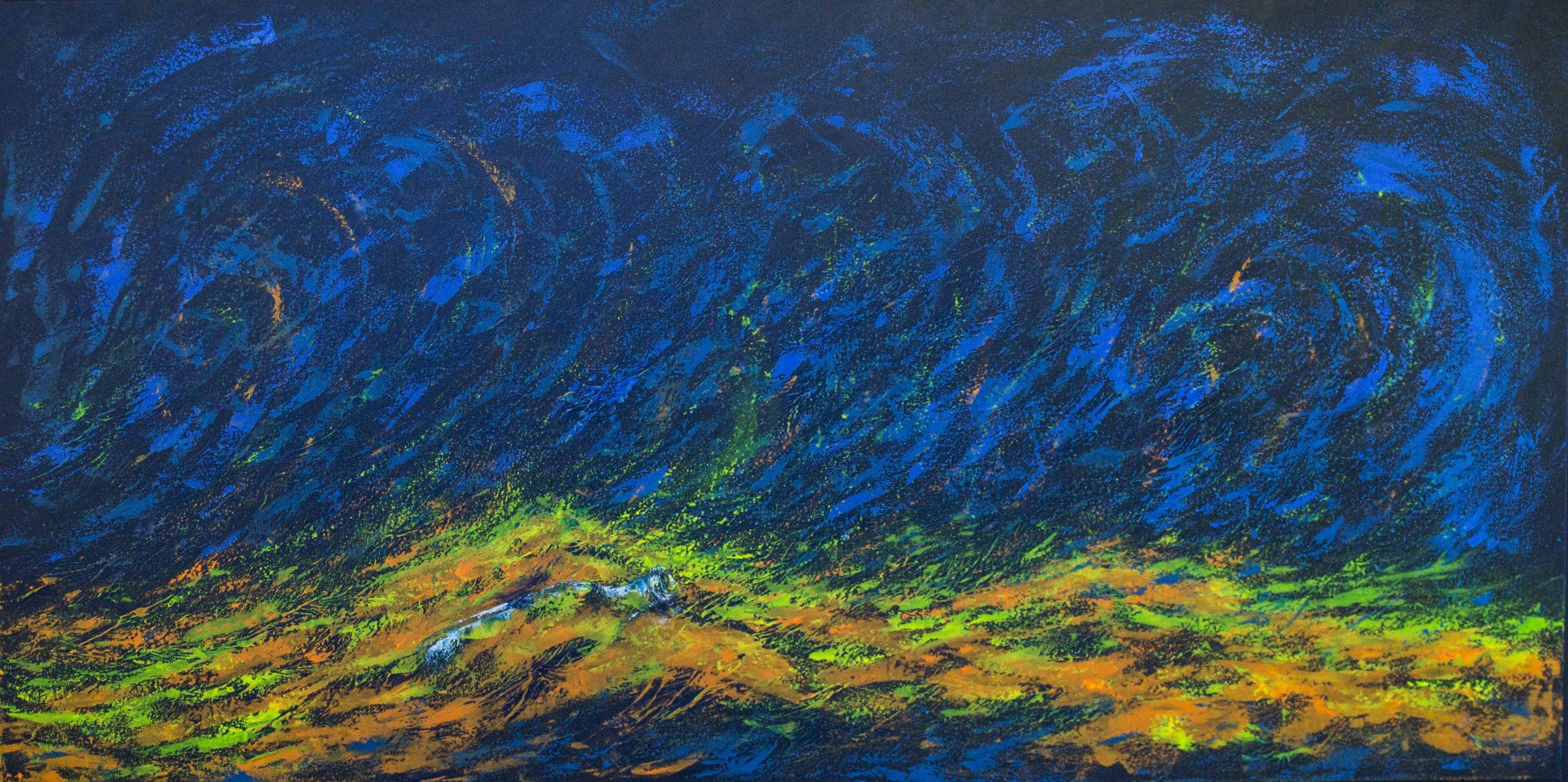 Acrílica sobre tela - 100 x 200 cm - com projeção de luz azul (2017)