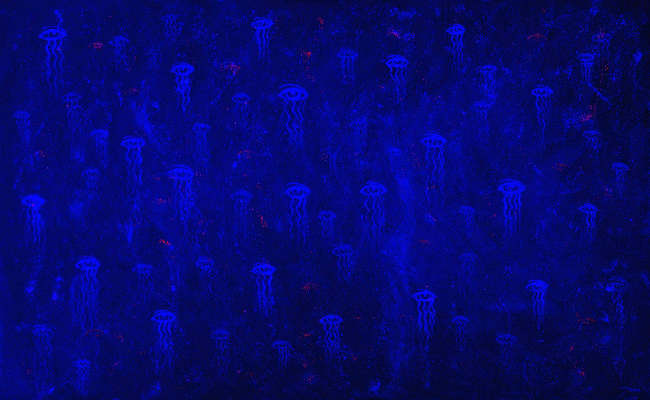 Acrílica sobre tela - 95 x 155 cm - c/ projeção de luz azul