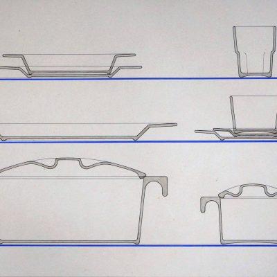 corte esquemático da linha de mesa em vidro